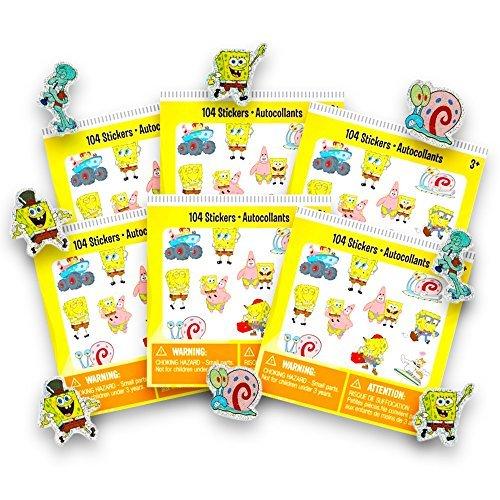 Spongebob Stickers Party Favors Set -- 6 Sticker Packs, 624 Stickers Total (Spongebob Party Supplies)