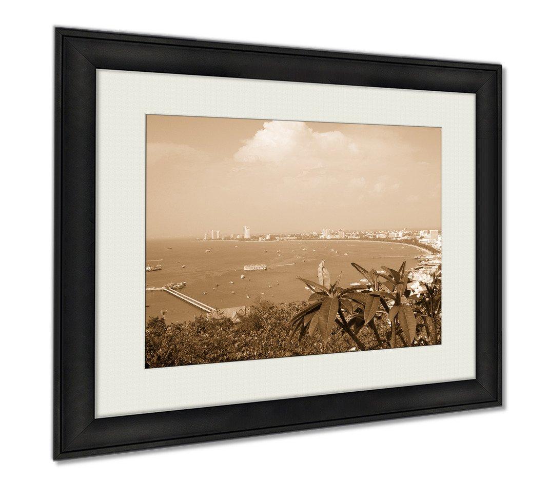 Ashley Framed Prints Pattaya Bay, Wall Art Home Decoration, Sepia, 30x35 (frame size), AG5892871