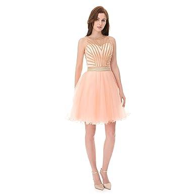 Lcrs Women S Tulle Prom Dresses Short Gold Rhinestone
