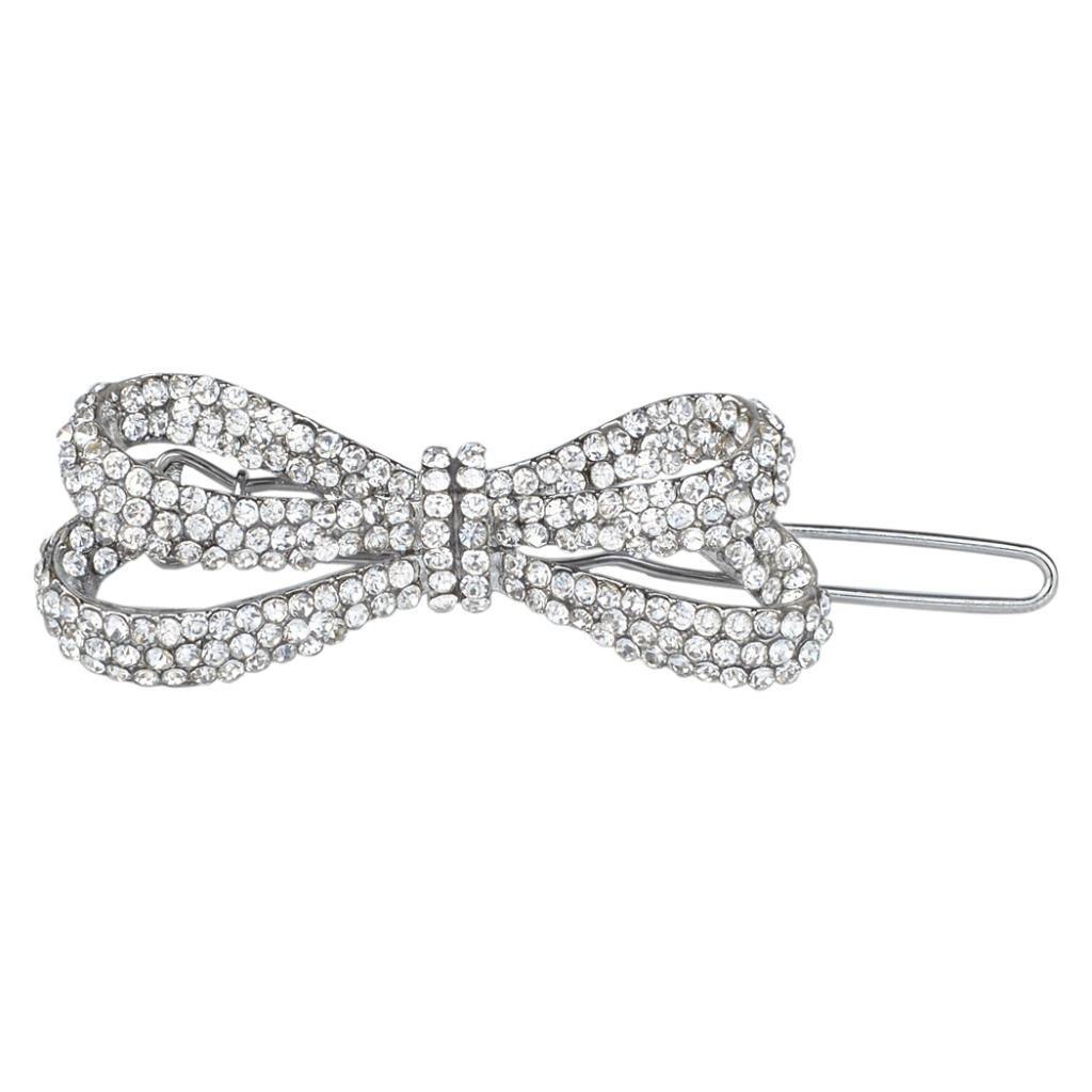 Ever Faith Wedding Bowknot Hair Clip Clear Austrian Crystal N02734-2