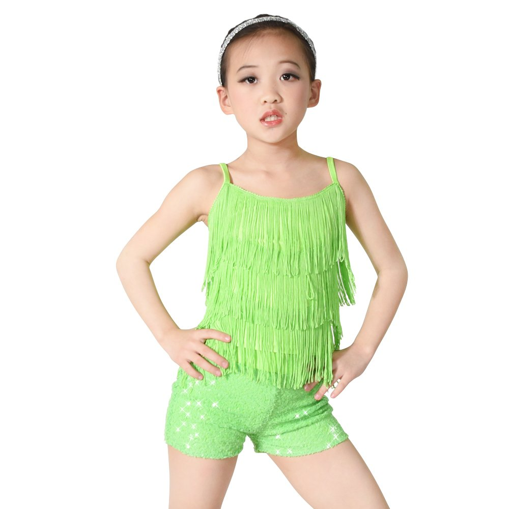 MiDee Girls Dance Costume Outfits 2 Pieces Camisole Tassels Sequins Shorts