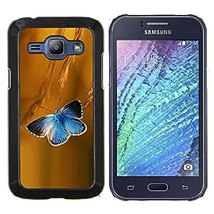 LECELL--Funda protectora / Cubierta / Piel For Samsung Galaxy J1 J100 -- Mariposa Rye Vuelo azul de primavera y verano --