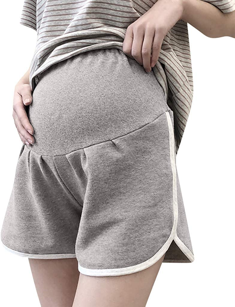 Womens High Waist Dolphin Shorts Cotton Pleated Maternity Pant Over The Belly Super Soft Support Pregnancy Trousers Workout Running Active Hot Pants