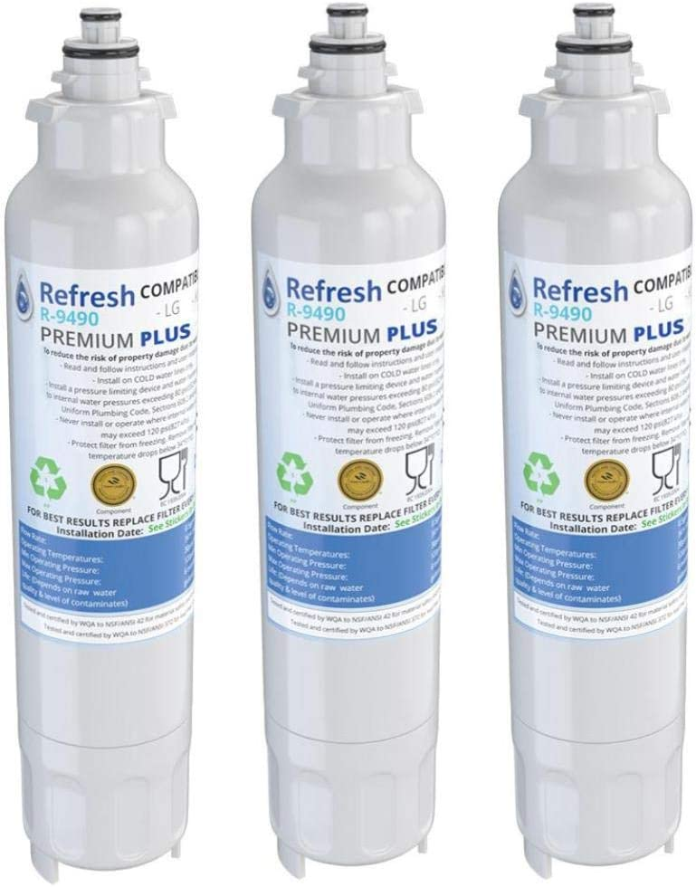Refresh NSF-53 Premium Replacement Refrigerator Water Filter Compatible with LG LT800P, ADQ73613401 and Kenmore Elite 46-9490, 9490, 469490, ADQ73613402 - Model R-9490Plus / R-9490Plus-S (3 Pack)