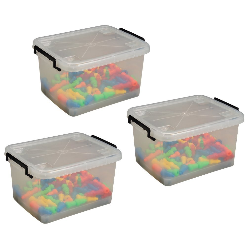 Constructive Playthings CPX-1242 Set of 3 clear Plastic Tubs with Locking Lids, Grade: Kindergarten to 3