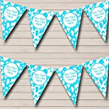 Cow Print Animal Happy Birthday Aqua White Birthday Party Bunting Banner
