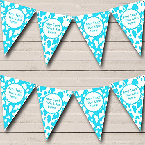 Cow Print Animal Happy Birthday Aqua White Birthday Party Bunting Banner by The Card Zoo