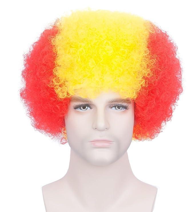 Unisex corto afro rizado pelucas para el fútbol de fútbol rugby ventiladores vestido de fantasía y payaso partido (Italia): Amazon.es: Belleza
