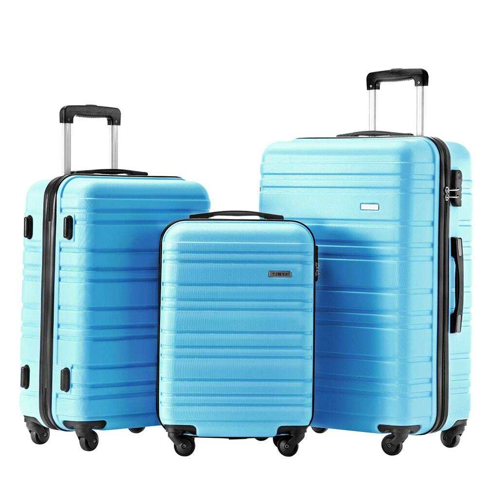 Luggage Set 3 Piece Set Suitcase set Spinner Hard shell Lightweight (skyblue)
