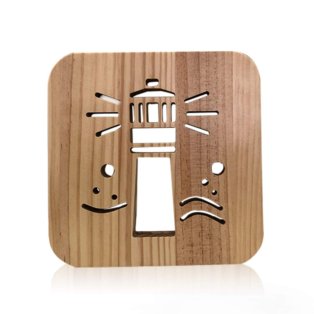 Wooden Lighthouse Led Lamp for Children, LeKong 3D Wooden Carving Patterns, USB Plug in, Gift for Birthday & Friendship, Fit for Halloween & Christmas Decoration, 2018 New by LeKong (Image #1)