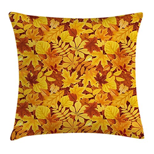 Autumn Throw Pillow Cushion Cover by Ambesonne, Shady Fall Oak Maple Tree Leaves on Faded Tones Seasonal Foliage Artwork, Decorative Square Accent Pillow Case, 18 X 18 Inches, Earth Yellow Marigold (Shady Tree Studio)