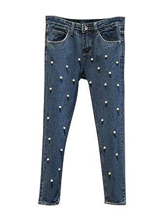 Moollyfox Pantalones Mujer Vaqueros Slim Fit Stretch ...
