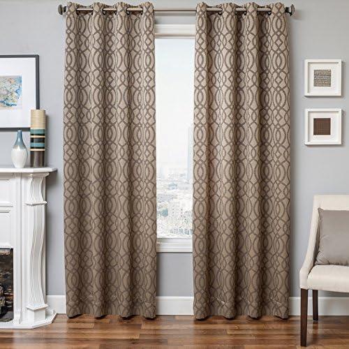 Softline Essex Series Woven Jacquard Window Curtain/Panel/Treatment/Sheer 55″ x 96″ Grommet Top Curtain