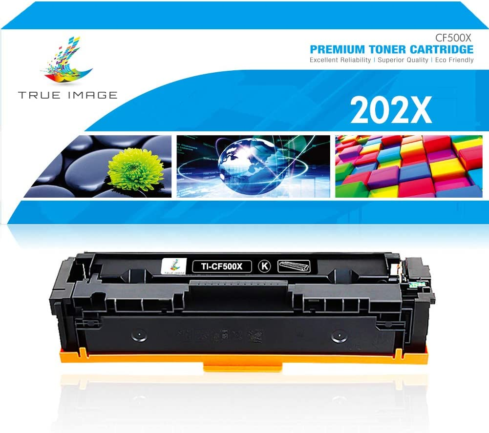 True Image Compatible Toner Cartridge Replacement for HP 202X CF500X 202A CF500A Color Laserjet Pro M281fdw M281cdw M254dw M280nw M254nw M281fdn MFP M281 M254 Ink Printer (Black, 1-Pack)