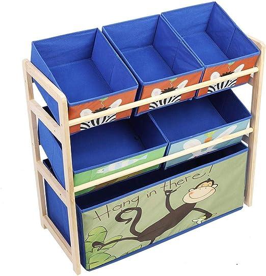 EBTOOLS Estantería Infantil para Juguetes, Estante de Madera y 6 Cajas de Tela, Organizador Unidad de Almacenamiento de Juguete para Niños, 65 x 28 x 60.5cm, Azul Caricatura: Amazon.es: Hogar