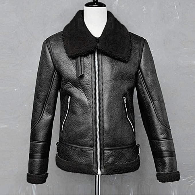 Fashion Mens Zipper Leather Jacket Winter Warm High Neck Fur Lined Lapel Coat Outwear Overcoat Plus Size at Amazon Mens Clothing store: