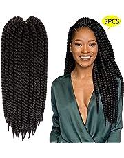 MSBELLE Havana Mambo Twist Synthetic Braids Silky Straight Soft Crochet Twist Synthetic Braidding Hair Extensions for Black Women 22 Inch 120g/Pcs