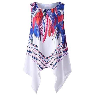 7dba803bca YEZIJIN Women Feather Print Sleeveless Shirts Blouse Casual O-Neck Tank  Tops T-Shirt 2019 New Sexy T-Shirt at Amazon Women's Clothing store: