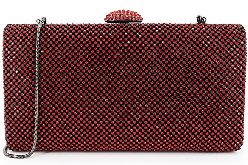 Dexmay Large Rhinestone Crystal Clutch Evening Bag Women Clutch Purse for Cocktail Prom Party Siam Red