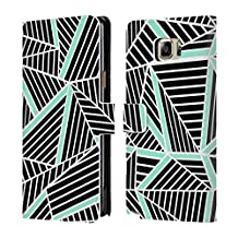 Official Project M Black Mint Abstract Lines Two Tone Leather Book Wallet Case Cover For Samsung Galaxy Note5 / Note 5