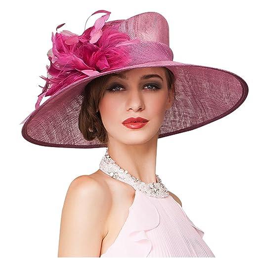297d8eb6459 HomArt Women s Kentucky Derby Church Dress Hat Wide Brim Flat Hat Feather  Accent