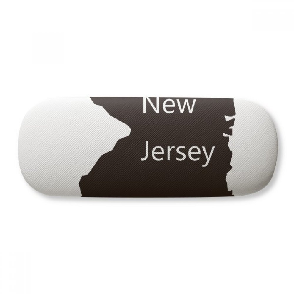 New Jersey USA Map Silhouette Glasses Case Eyeglasses Clam Shell Holder Storage Box