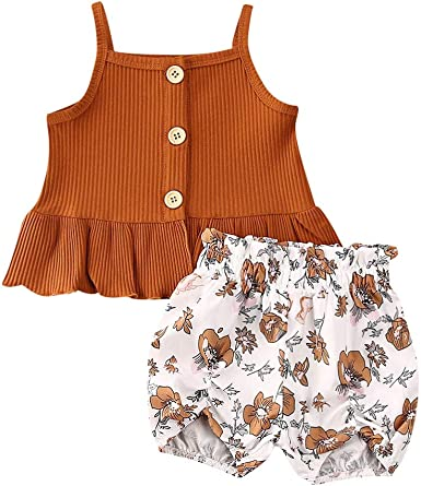 Baby Girl Clothes Ruffles Sleeveless Vest and Shorts Summer Outfits Set