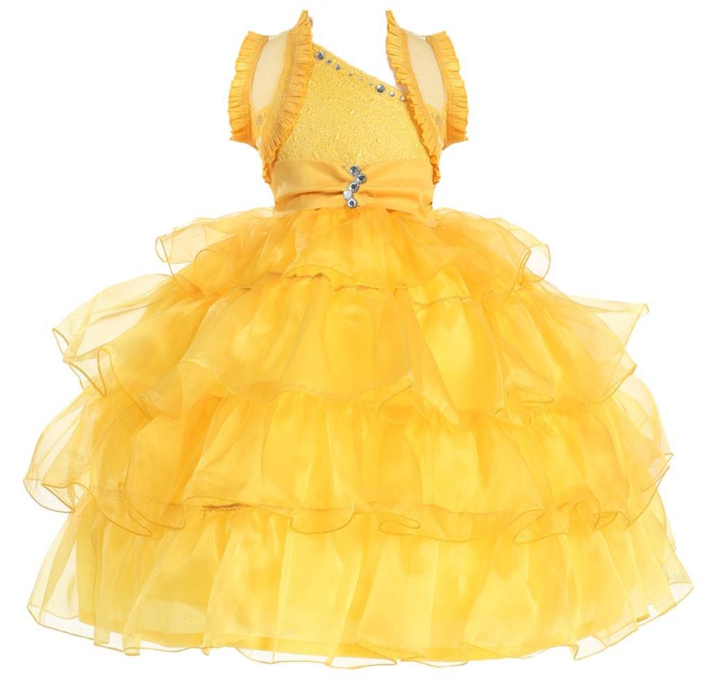 AkiDress One Shoulder Organza Multi Layered Presentation Dress for Big Girl Yellow 12