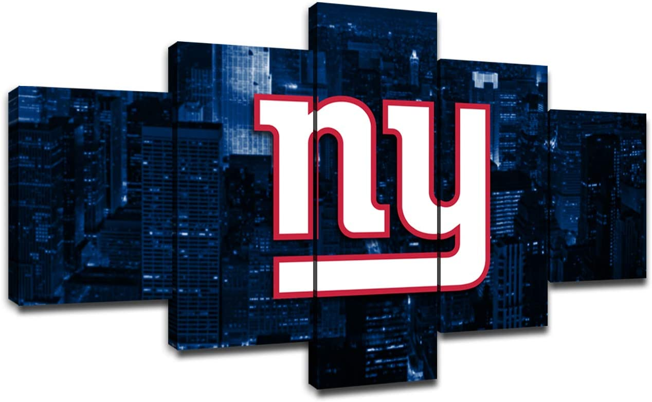 New York Giants Team Logo Poster Wall Decor for Home Painting 5 Piece Canvas Prints Wall Art Picture Modern Decoration for Bedroom Poster with Frame Ready to Hang(60''Wx32''H)
