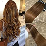 18'' 100G/20Pcs PU Skin Weft Tape In Human Hair Extension Bronde Balayage Color Omber Highlight Tape on Hair Extensions Dip Dye 100% Real Remy Human Hair Extensions Full Head