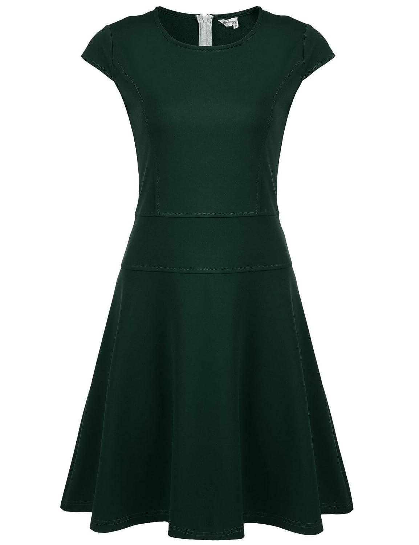 Dark Green Keliqq Women's Basic Round Neck Short Sleeve Casual Maxi Midi Dress