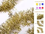 iPEGTOP Christmas Tinsel Garland Shiny Decorations 3pcs 82ft Gold (Small Image)