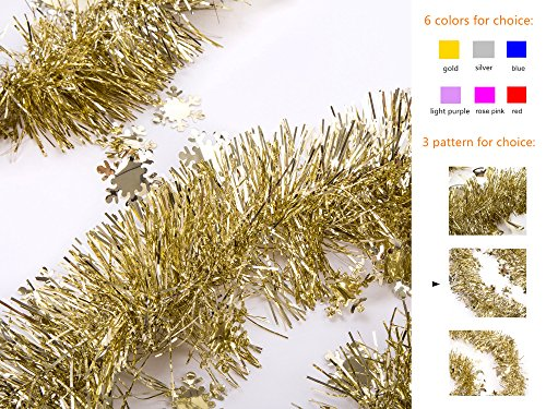 iPEGTOP Christmas Tinsel Garland Shiny Decorations 3pcs 82ft Gold (Large Image)