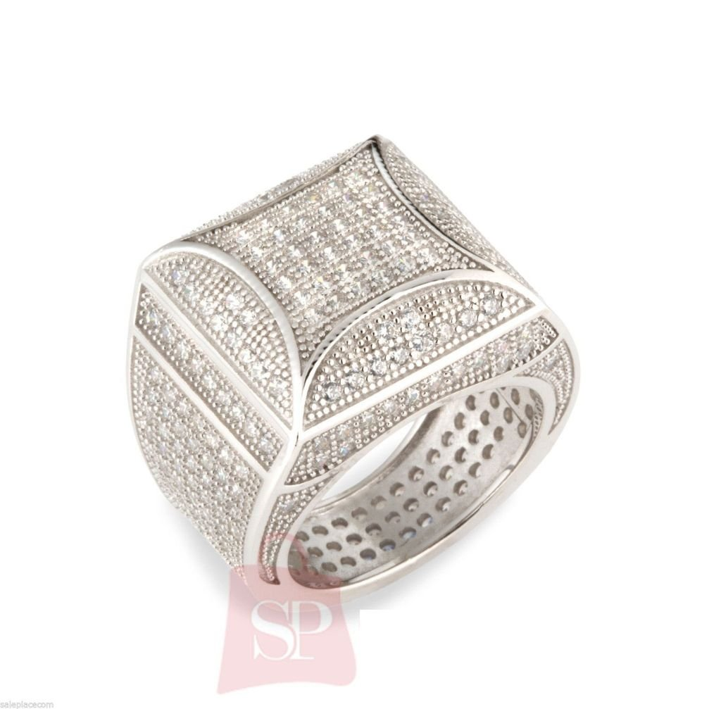 Letter Fashion Mens Silver Rhinestone Championship Ring Bling Crystal by Letter SP Fashion Mens Ring