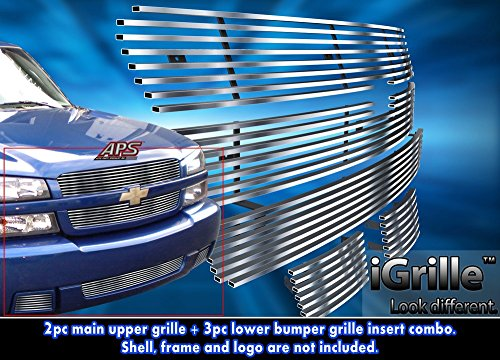 Stainless Steel eGrille Billet Grille Grill For 03-05 Chevy Silverado 1500 SS Combo