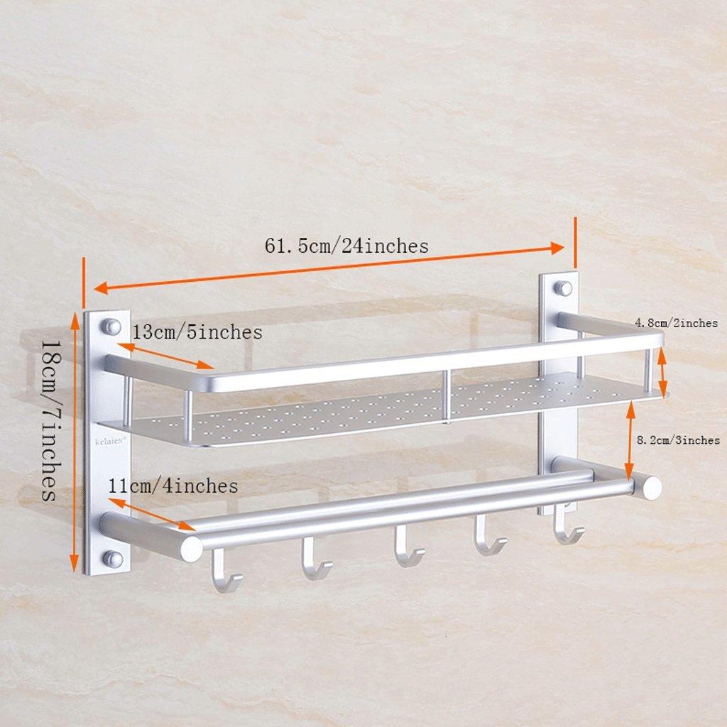 YXN Space Aluminum Bathroom Shelf Bathroom Wall Mounted Metal Pendant Towel Single Pole With Hook Combination Corner Frame Makeup Platform (Size : 61.5cm)