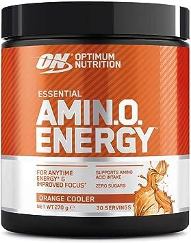 Optimum Nutrition Amino Energy Pre Workout en Polvo, Bebida Energética con Beta Alanina, Vitamina C, Cafeína, Aminoacidos Incluyendo BCAA, Orange ...