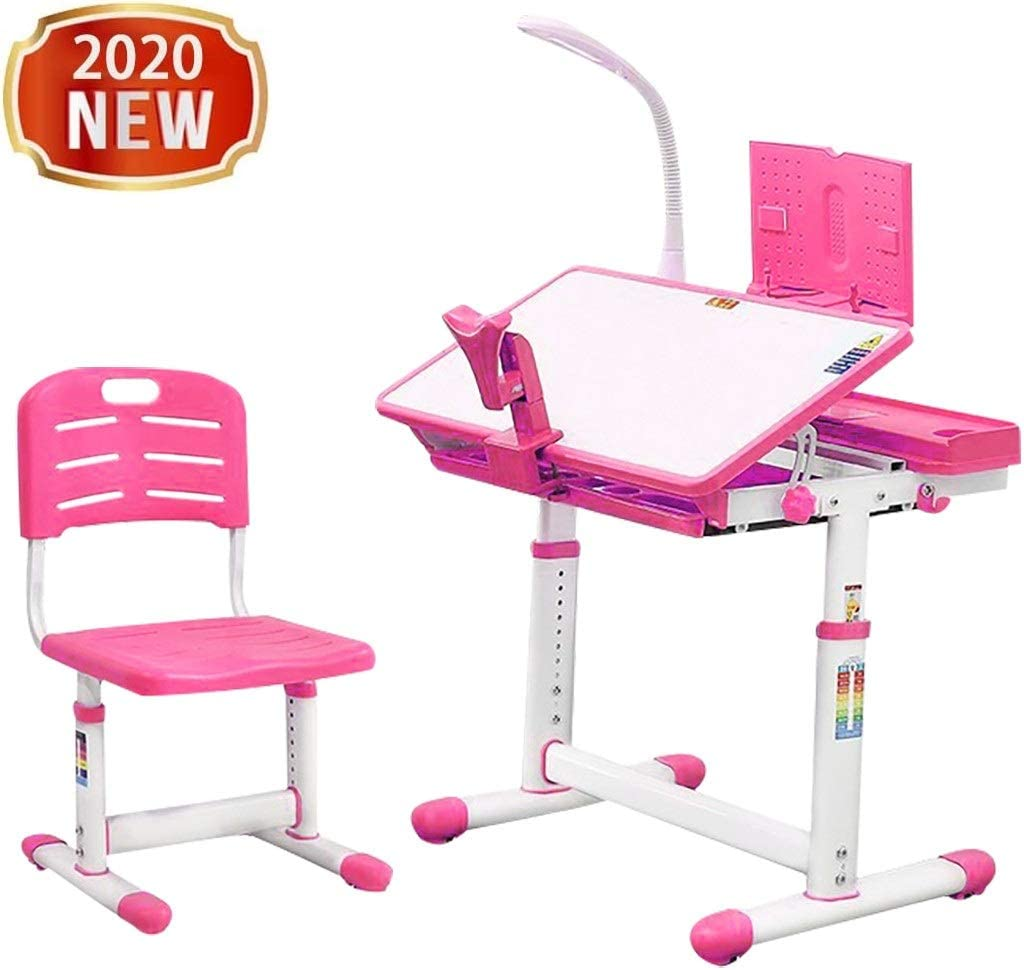 Children Desk and Chair Set - Height Adjustable Desk with Tilt Desktop for painting - School and home Kids Study Table w/ Bookstand, LED Light, Metal Hook and Storage Drawer for Boys Girl (Pink)