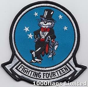 """Marina de los Estados Unidos vfa-14strike Fighter escuadrón 14""""tophatters"""" gato bordado parche"""