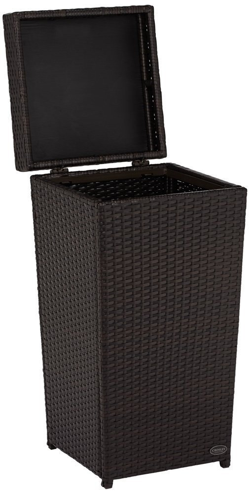 Crosley Furniture Palm Harbor Outdoor Wicker Trash Bin - Brown by Crosley Furniture