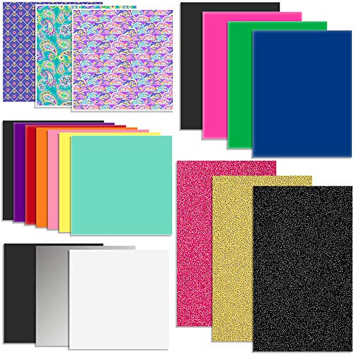 Oracal Vinyl and Siser EasyWeed Heat Transfer - Starter Sample Pack - 20 Sheets
