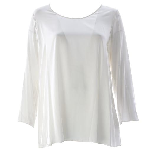 eba63be703415f Marina Rinaldi Women s Fato Silk Shiny Blouse Cream at Amazon ...