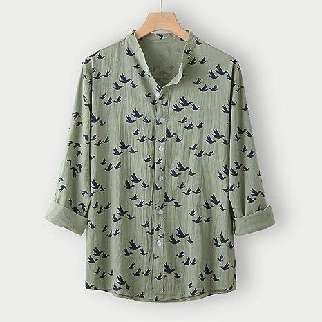 Wodechenshan Camisas Casual para Hombre,La Moda Hombre De Camisa Verde Camisa Casual Botón Turn-Down Hawai Playa Imprimir Camisa Manga Larga Blusa Hombres Vestidos Top: Amazon.es: Deportes y aire libre