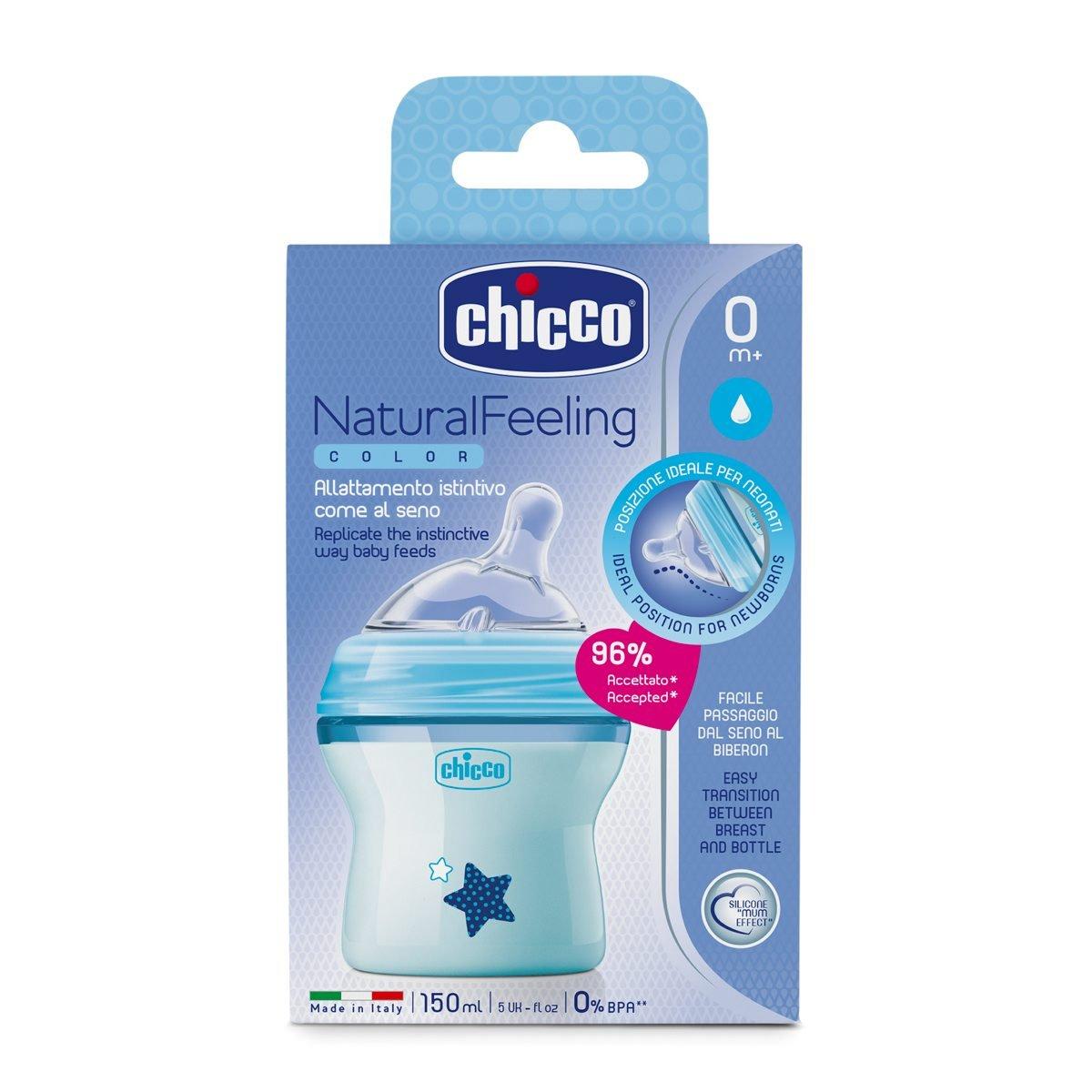 Chicco 00080811210000 Natural Feeling Biberon 0Mesi Bimbo transparent 150 ml