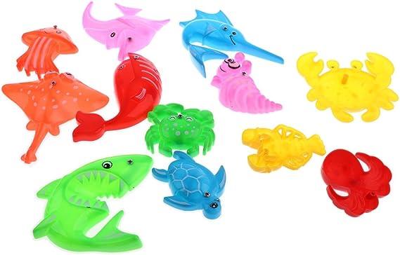 MagiDeal 14 Pezzi Pesca Magnetico Finta Bagno Gioco Acqua Divertente Bambini Regalo Plastica Multicolore