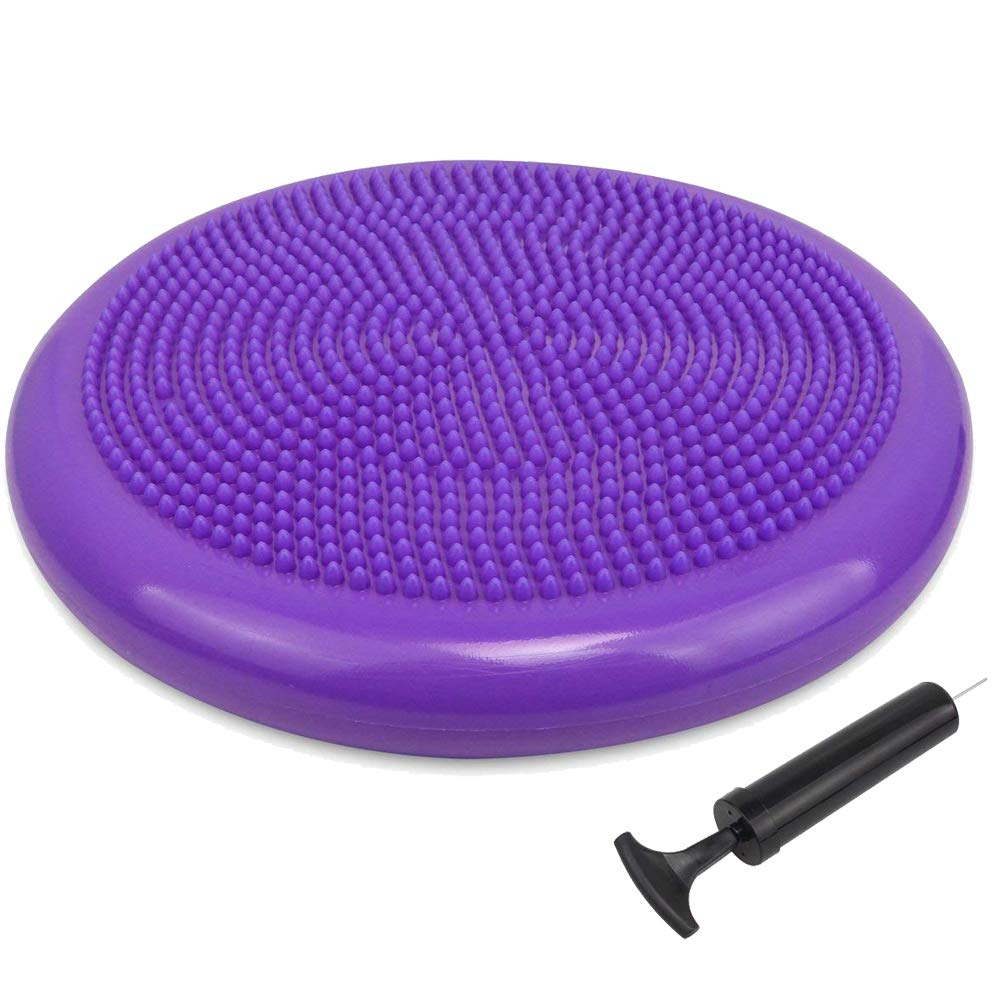 Office /& Home /& Classroom Runyuan Exercise Fitness Core Balance Disc-Inflated Stability Wobble Cushion-Free Pump