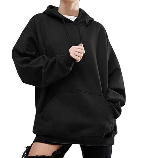 086c0461a01 iQKA Women Plus Size Long Sleeve Hoodie Oversized Sweatshirt Casual Baggy  Hooded Top(Black