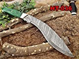 Damascus Steel Kukri Knife 15 Inches custom made Hand Forged With 10'' long blade, Green Dollar wood with brass scale, Cow Leather Sheath