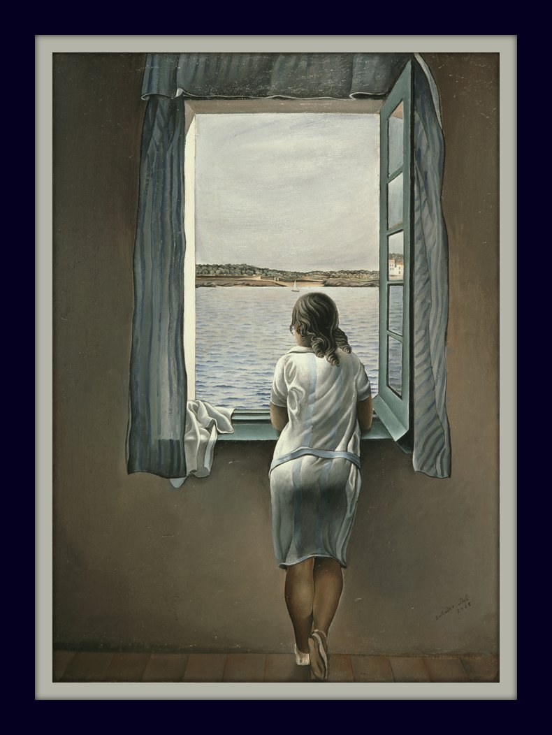 Famous Salvador Dali Girl Standing At the Window 11x14 Double Matted Fine Art 8x12 Print Ready to Be Framed Classic