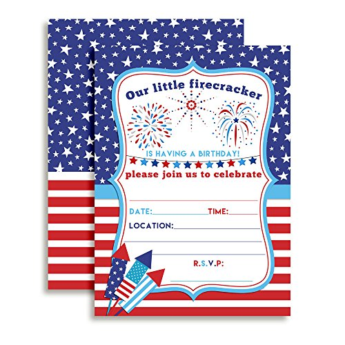 4th of July Party Firecracker Birthday Invitations, 20 5